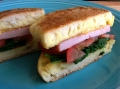 inside out egg sandwich recipe with spinach, egg, cheese, tomato